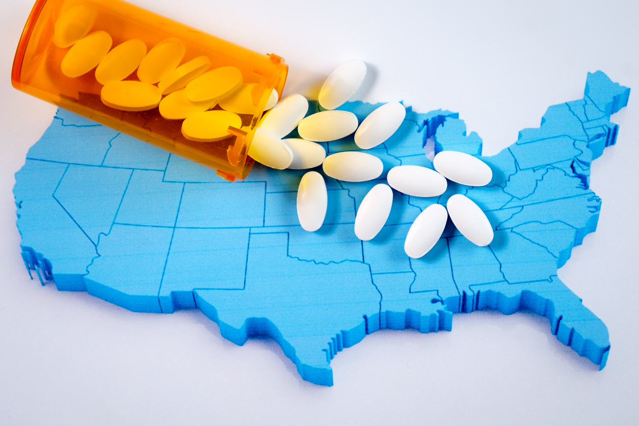 USA map with pills